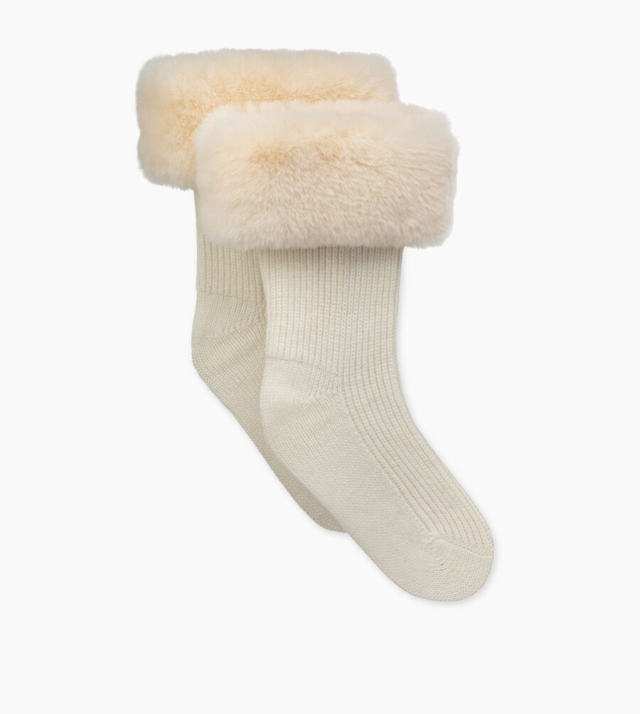 Faux Fur Short Rainboot Sock | Tuggl
