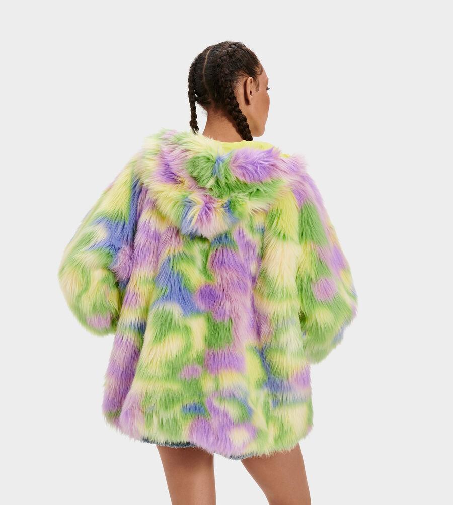 Clove Faux Fur Tie Dye Jacket - Image 3 of 4