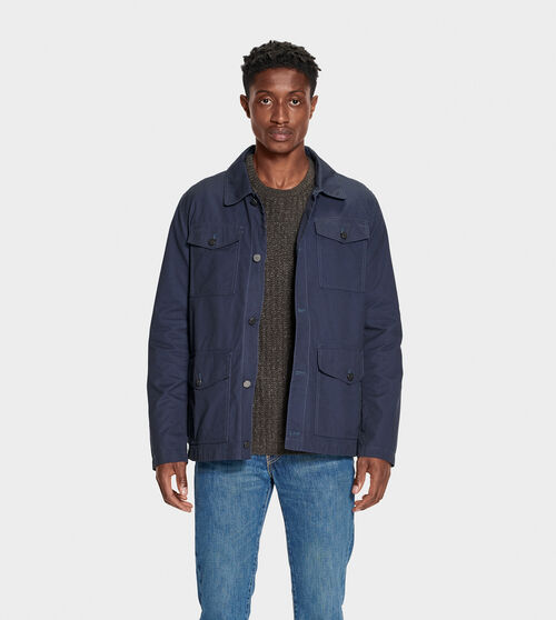 UGG Men's Silas Chore Coat Cotton Blend In Blue, Size XS The perfect spring coat, the Silas is made for chilly nights. Wear over any warm-weather look - from shorts and tanks to jeans and tees. UGG Men's Silas Chore Coat Cotton Blend In Blue, Size XS