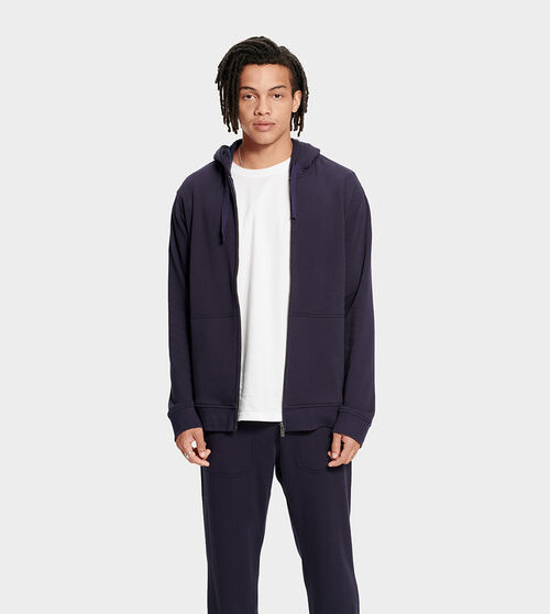 UGG Men's Gordon Zipped Hoodie Cotton Blend In Blue, Size M Side panels and a ribbed hem add a bit of structure to this fleece-lined hoodie. Wear with our Hank jogger for head-to-toe warmth. UGG Men's Gordon Zipped Hoodie Cotton Blend In Blue, Size M