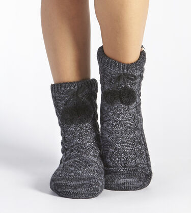 Pom Pom Fleece-Lined Crew Sock