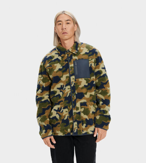 UGG Men's Keefe Sherpa Jacket Polyester In Brown/green, Size S Lean and rugged, this sherpa fleece jacket features a buffalo plaid chest pocket and snap-up front. Wear with your favorite denim and brown leather boots. UGG Men's Keefe Sherpa Jacket Polyester In Brown/green, Size S