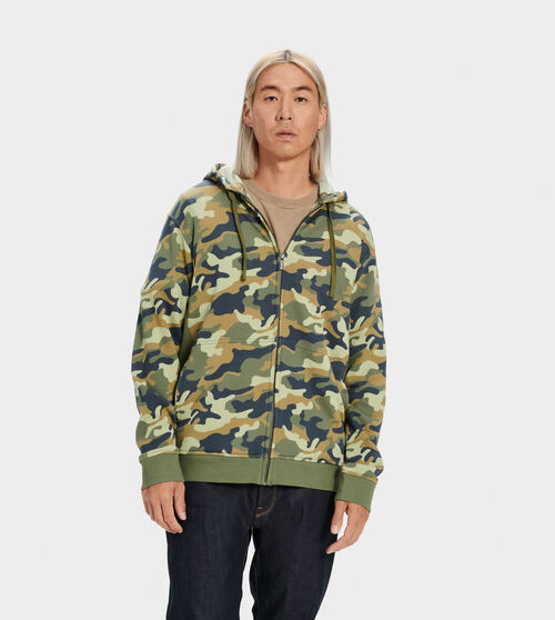 UGG Men's Gordon Zipped Hoodie Cotton Blend In Green, Size L Side panels and a ribbed hem add a bit of structure to this fleece-lined hoodie. Wear with our Hank jogger for head-to-toe warmth. UGG Men's Gordon Zipped Hoodie Cotton Blend In Green, Size L