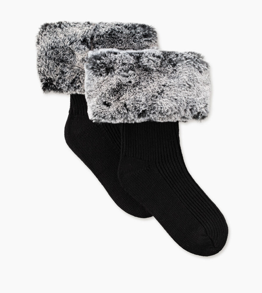Faux Fur Short Rainboot Sock - Image 2 of 3