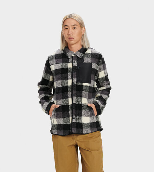 UGG Men's Keefe Sherpa Jacket Polyester In Black Plaid, Size L Lean and rugged, this sherpa fleece jacket features a buffalo plaid chest pocket and snap-up front. Wear with your favorite denim and brown leather boots. UGG Men's Keefe Sherpa Jacket Polyester In Black Plaid, Size L