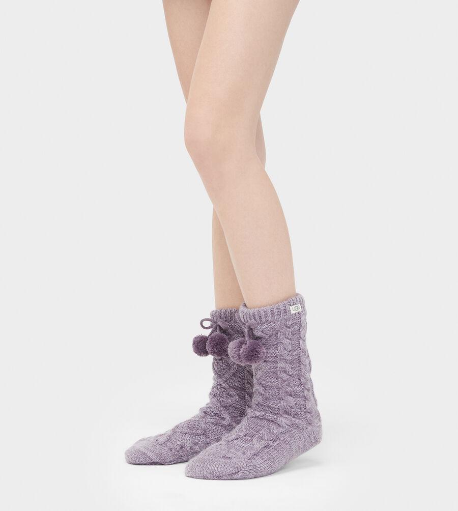 Pom Pom Fleece Lined Crew Sock - Image 2 of 2