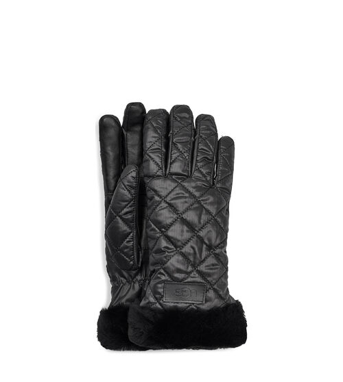 UGG Women's Quilted Performance Glove Waterproof In Black, Size L/XL Made from our versatile all-weather fabric, this quilted glove is lined with luxe sherpa and features genuine sheepskin trim around the cuff, plus a conductive leather palm for seamless smartphone use. Pair with puffer coats and knit caps. UGG Women's Quilted Performance Glove Waterproof In Black, Size L/XL