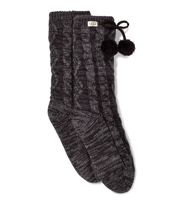 Pom Lurex Fleece Lined Crew Sock