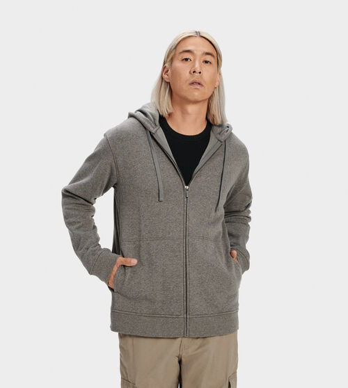 UGG Men's Gordon Zipped Hoodie Cotton Blend In Grey, Size XL Side panels and a ribbed hem add a bit of structure to this fleece-lined hoodie. Wear with our Hank jogger for head-to-toe warmth. UGG Men's Gordon Zipped Hoodie Cotton Blend In Grey, Size XL