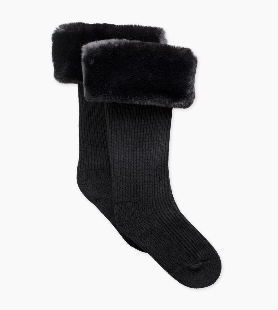 Faux Fur Tall Rainboot Sock  - Image 1 of 3