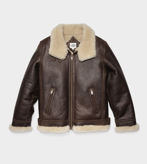 UGG Men's Auden Shearling Aviator Jacket In Brown, Size M The Auden Aviator jacket is made entirely from sheepskin to keep you warm through fall and winter. With a timelessly rugged aesthetic, it pairs perfectly with jeans and aviator shades. UGG Men's Auden Shearling Aviator Jacket In Brown, Size M