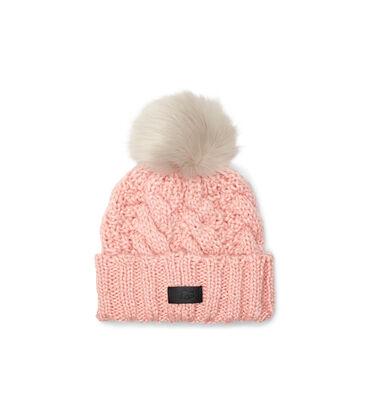 Knit Cable Beanie Faux Fur Pom Alternative View