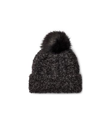 Boucle Knit Cuff Pom Hat