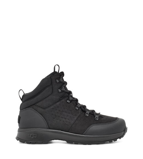 UGG Men's Emmett Boot Mid Leather, Size 8 Heritage design meets weather-ready performance in the Emmett Boot. Combining the flexibility and performance of a sports shoe with the stability, style, and functionality of a hiking boot, the Emmett is packed with high-tech features - from its seam-sealed waterproof leather upper to its cold-weather rating of -32 C (or -25.6 F). The dynamic support shank provides torsional stability over varied terrain, while the cushioned sole is equipped with specially-engineered treads to help prevent snow from getting caught underfoot. Additionally, the White Spider Rubber outsole features ice-gripping rubber lugs on the forefoot and heel, enhancing traction on wet and frozen surfaces. Wear with light weatherwear, chinos and a softshell, or jeans and a flannel. UGG Men's Emmett Boot Mid Leather, Size 8
