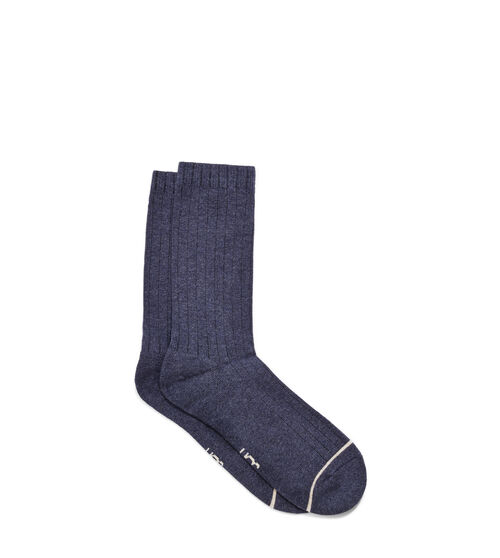 UGG Men's Murphy Ribbed Crew Sock Cotton Blend In Blue Knit from a soft cotton blend with subtle ribbing, these crew socks feature a plush terry footbed, adding extra cushion to your favorite footwear. Wear them with anything from boots to dress shoes. UGG Men's Murphy Ribbed Crew Sock Cotton Blend In Blue