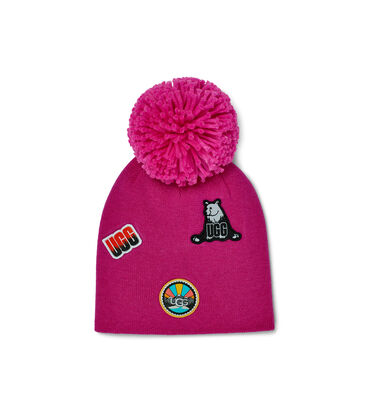 Beanie With Patches And Pom
