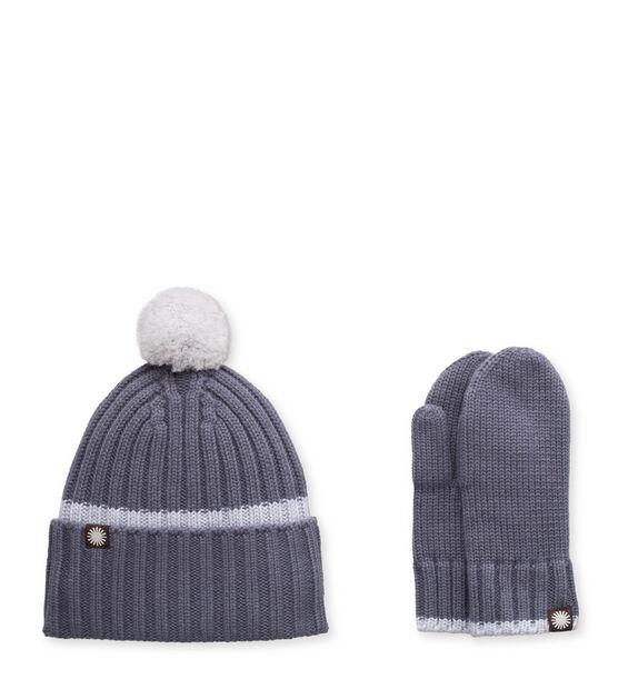 Ribbed Tip Cuff Hat / Mitten Set