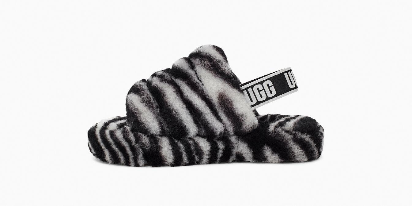 Fluff Yeah Slide Zebra Kids' Slipper   UGG®