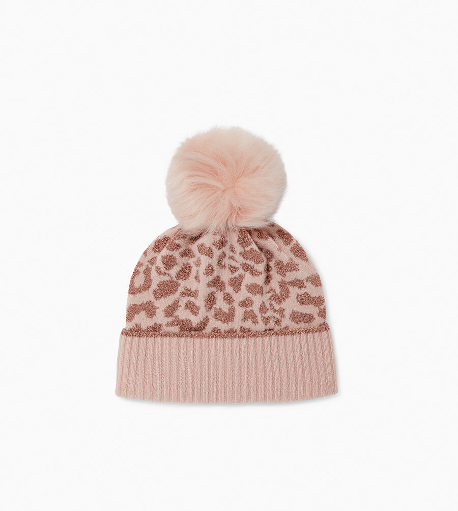 AGGIE CASHMERE LEOPARD BEANIE - Image 1 of 2