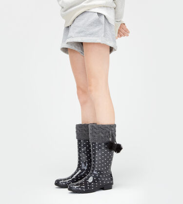 Pom Pom Tall Rainboot Sock