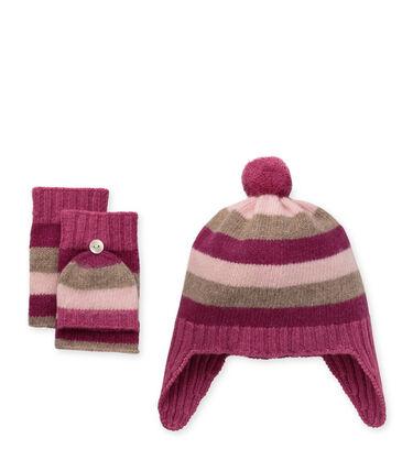 Cashmere Striped Hat/ Mitten Set