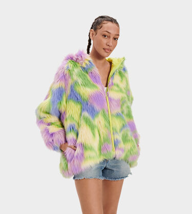 Clove Faux Fur Tie Dye Jacket Alternative View