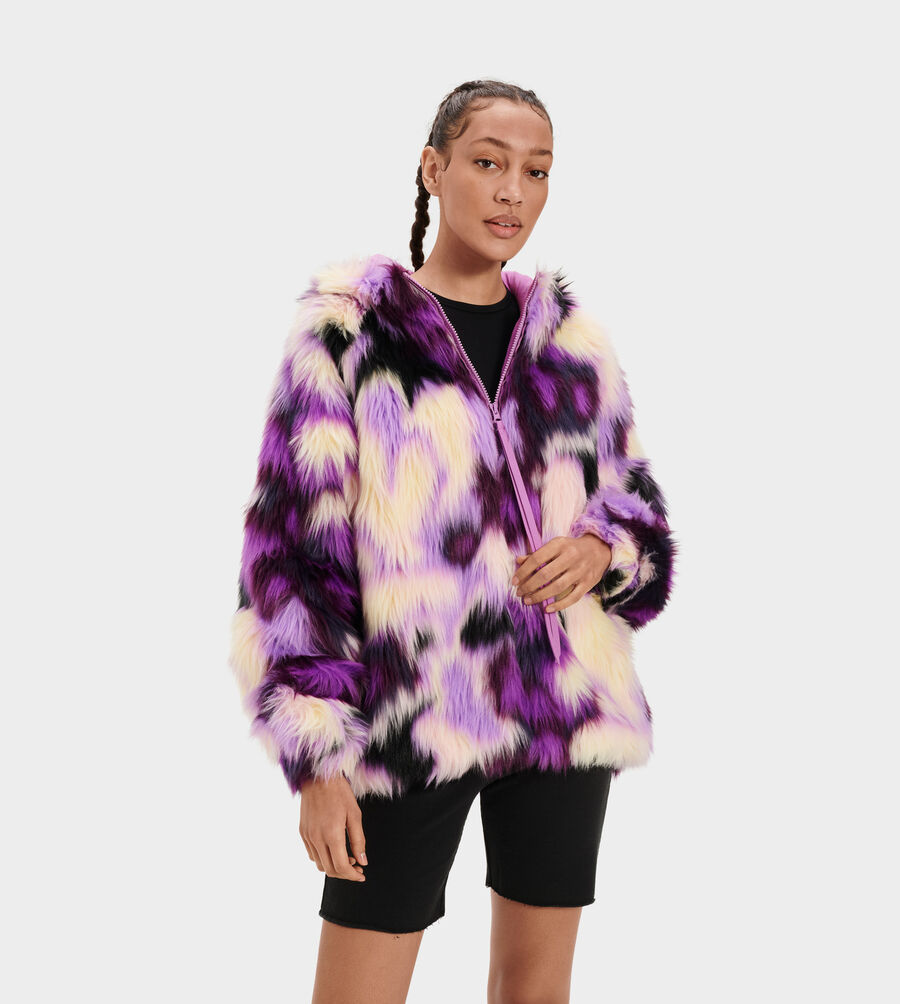 Clove Faux Fur Tie Dye Jacket - Image 2 of 5