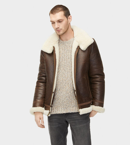 UGG Men's Auden Shearling Aviator Jacket Sheepskin In Chestnut, Size L