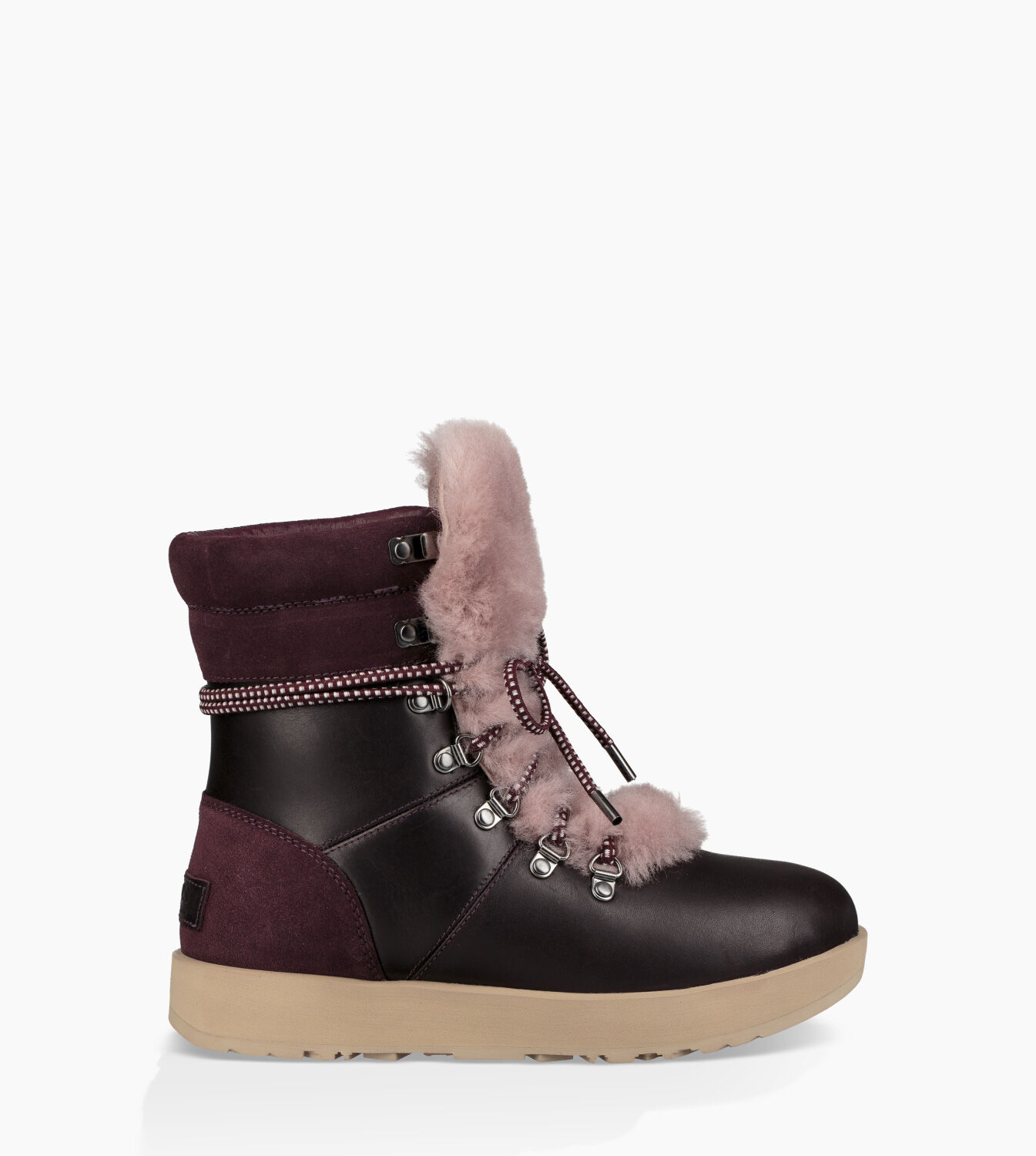 UGG Women's Viki Waterproof Leather Lace Up Boots - Port - UK 5.5