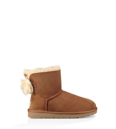 어그 UGG Classic Mini Fluff Bow Boot,CHESTNUT