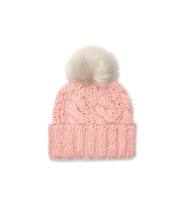 Knit Cable Beanie Faux Fur Pom
