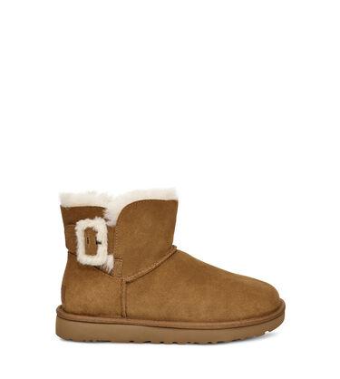 어그 플러프 부츠 UGG Mini Bailey Fluff Buckle Boot,CHESTNUT