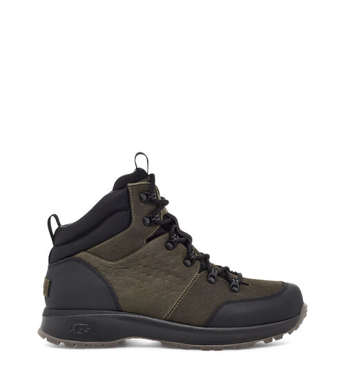 UGG Men's Emmett Boot Mid Leather, Size 13 Heritage design meets weather-ready performance in the Emmett Boot. Combining the flexibility and performance of a sports shoe with the stability, style, and functionality of a hiking boot, the Emmett is packed with high-tech features - from its seam-sealed waterproof leather upper to its cold-weather rating of -32 C (or -25.6 F). The dynamic support shank provides torsional stability over varied terrain, while the cushioned sole is equipped with specially-engineered treads to help prevent snow from getting caught underfoot. Additionally, the White Spider Rubber outsole features ice-gripping rubber lugs on the forefoot and heel, enhancing traction on wet and frozen surfaces. Wear with light weatherwear, chinos and a softshell, or jeans and a flannel. UGG Men's Emmett Boot Mid Leather, Size 13