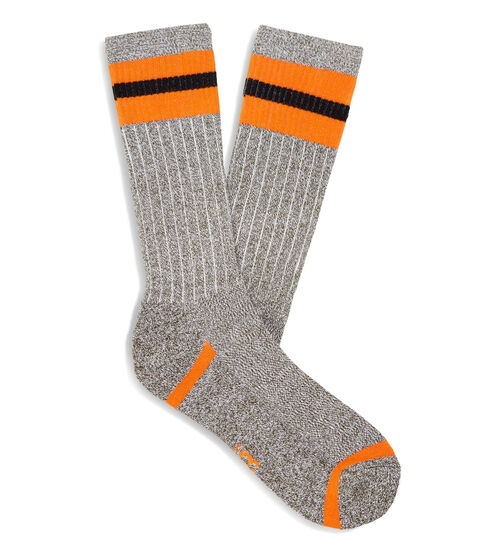 UGG Men's Noel Three Stripe Crew Sock Cotton Blend Perfect for business casual or weekend wear, sporty stripes add a modern feel to our timeless cotton-blend crew socks. UGG Men's Noel Three Stripe Crew Sock Cotton Blend