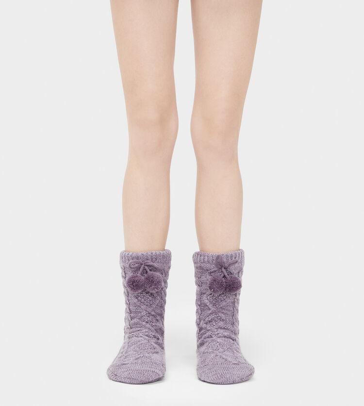 Pom Pom Fleece Lined Crew Sock