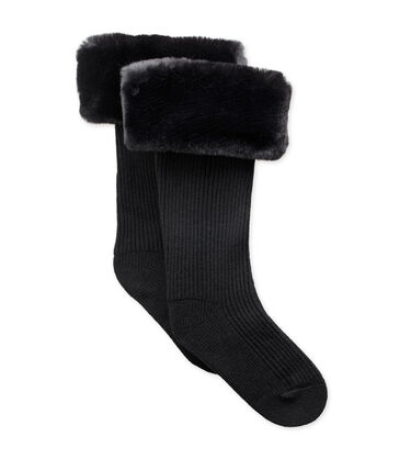 Faux Fur Tall Rainboot Sock
