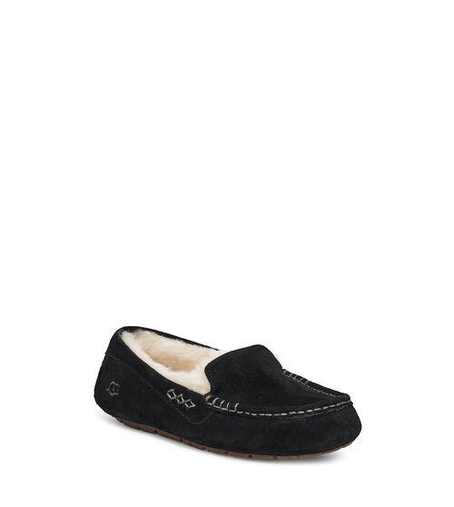 UGG Womens Ansley Slipper Sheepskin In Black, Size 10