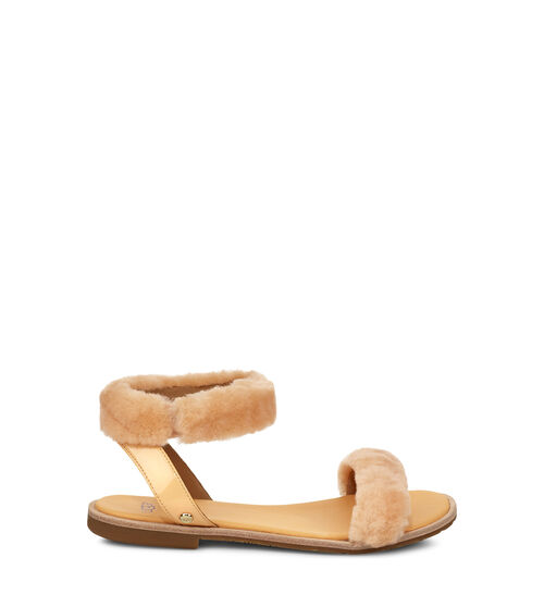 UGG Womens Fluff Springs Patent Sandal Sheepskin In Sunkissed, Size 11
