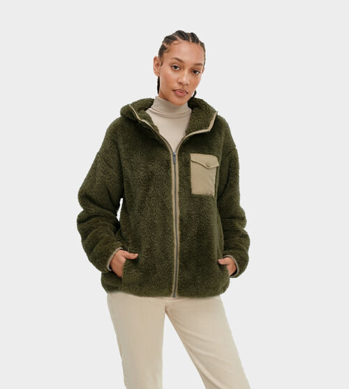 UGG Women's Kadence Polyester In Green, Size M A faux fur favorite that adds lightweight style to any occasion, our sherpa fleece Kadence hoodie is as soft and cozy as your favorite blanket, but designed for any-season versatility. Pair this athleisure essential with leggings, shorts, or jeans for a fluffy fashion statement in any weather. UGG Women's Kadence Polyester In Green, Size M