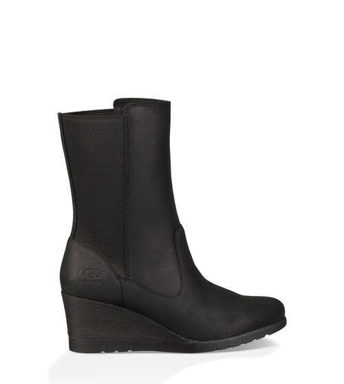 UGG Womens Coraline Boot Leather In Black, Size 7