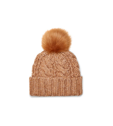 Knit Cable Beanie Faux Fur Pom