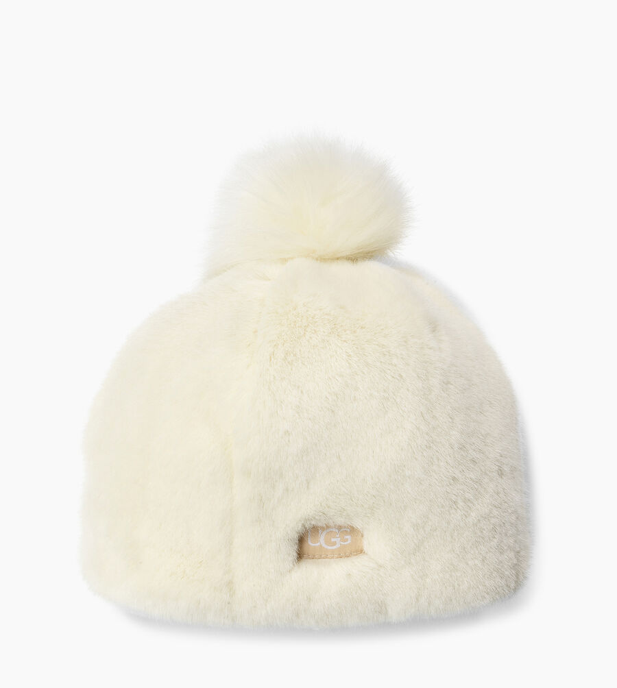 Faux Fur Beanie with Pom - Image 2 of 2