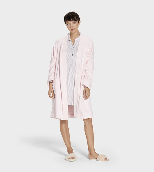 UGG Women's Lorie Terry Robe Cotton Blend In Pink, Size XL/XXL Made from a soft cotton terry knit, this cozy robe is perfect for relaxed weekend mornings. Best paired with fluffy slippers and an espresso. UGG Women's Lorie Terry Robe Cotton Blend In Pink, Size XL/XXL
