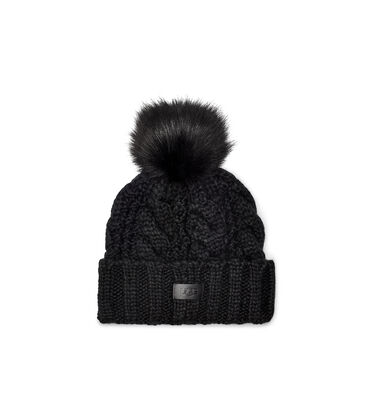 Knit Cable Beanie Faux Fur Pom Alternative View