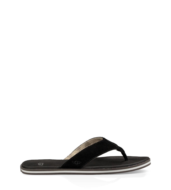 Ugg Sandals Mens Ugg Delray Flat Black Leather 3533706