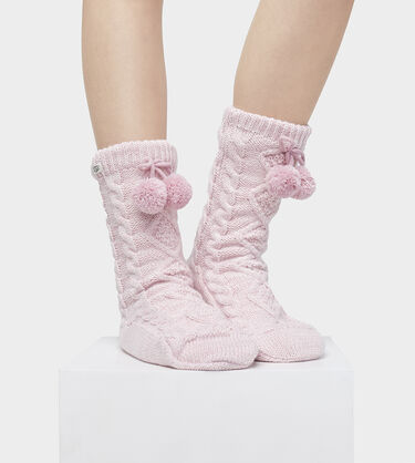POM POM FLEECE LINED CREW SOCK