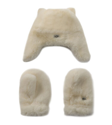 FAUX FUR TRAPPER AND MITTEN SET
