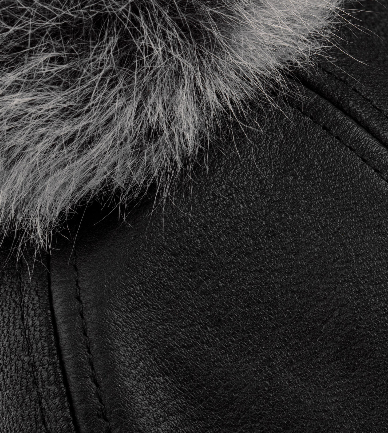 Leather Baseball Hat With Fur Pom