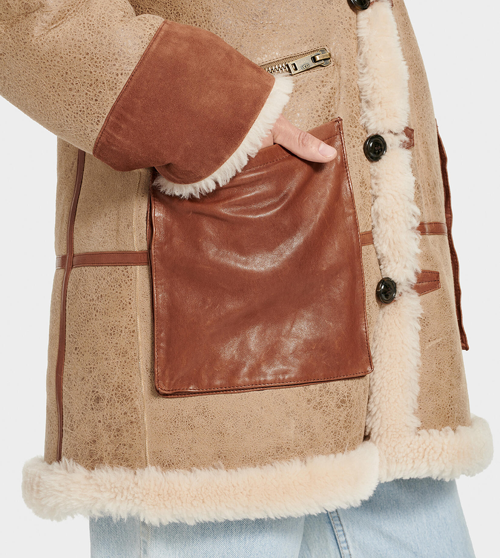 Yates Shearling Hooded Coat