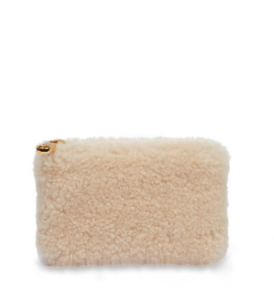 Small Zip Pouch Sheepskin Clutch